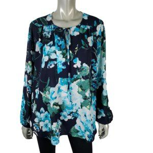 New York & Co. Womens Floral Blue Top Size XL